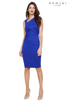 Damsel In A Dress Blue Trista Plain Jersey Dress