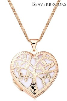 Beaverbrooks Silver Rose Gold Plated Heart Tree Locket