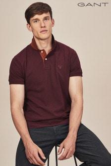 GANT Dark Burgundy Contrast Collar Pique Polo