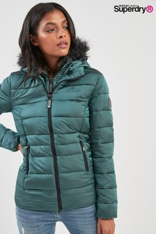 Superdry Teal Taiko Faux Fur Padded Jacket