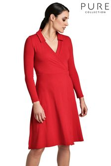 Pure Collection Red Jersey Collared Dress