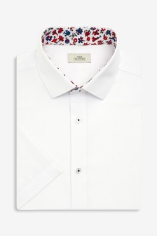 Short Sleeve Regular Fit Shirt With Floral Trim