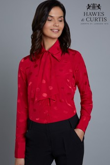 Hawes & Curtis Red Boutique Jacquard Design Blouse With Tie