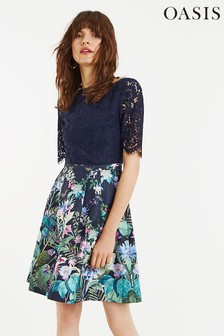 Oasis Blue Lace Top Bloom Skater Dress