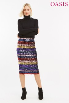 Oasis Natural Rainbow Sequin Tube Skirt