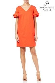 Adrianna Papell Orange Elsa Cotton Shift Dress