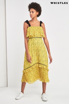 Whistles Yellow Ditsy Blossom Pleated Dress