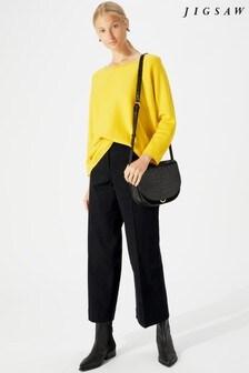 Jigsaw Black Hoxton Crop Flare Trouser
