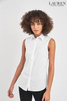 Lauren Ralph Lauren® White Sleeveless Stretch Shirt
