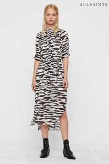 AllSaints Zebra Print Xena Midi Dress