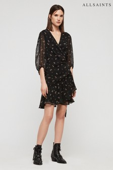 All Saints Black Floral Print Jadeasta Wrap Dress