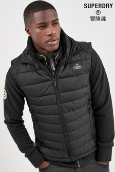 Superdry Black Zip Through Fuji Gilet
