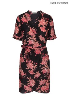 Sofie Schnoor Black Floral Silk Wrap Dress