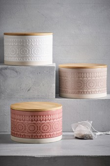 Set of 3 Ceramic Embossed Storage Jars