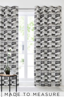 Chenille Block Stripe Eyelet Curtains