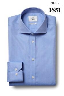 Moss 1851 Tailored Fit Sky Single Cuff Zero Iron Shirt