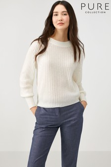 Pure Collection White Lofty Cashmere Ribbed Sweater