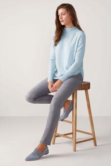Pure Collection Blue Toccato Turtle Neck Sweater