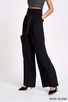 River Island Black Wide Leg Belted Trouser
