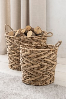 Set of 2 Seagrass Log Baskets