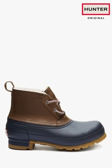 Hunter Womens Brown/Navy Original Pac Boots