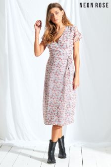 Neon Rose Multi Rosie Ditsy Wrap Midi Dress