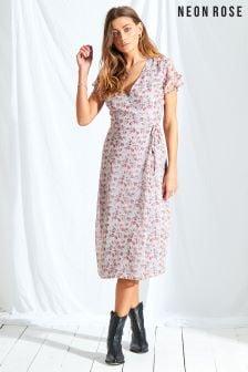 Neon Rose Multi Rosie Ditsy Wrap Midi Dress