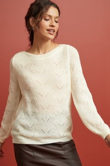 Pointelle Wide Neck Jumper