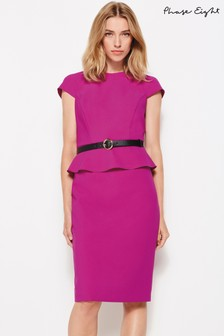 Phase Eight Purple Milla Belted Peplum Dress