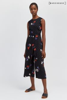 Warehouse Black Scatter Floral Jumpsuit