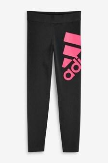 adidas Black/Pink Large Logo Leggings