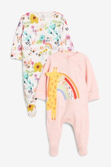 2 Pack Giraffe Character Sleepsuits (0mths-2yrs)