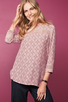 3/4 Sleeve Lace Insert Top