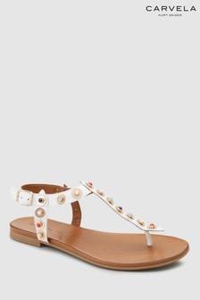Carvela White Leather Kankan Sandal
