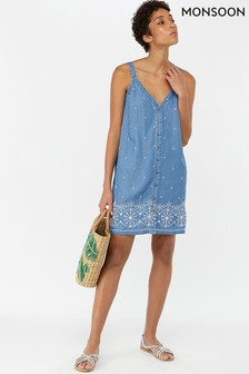 Monsoon Ladies Blue Audrey Embroidered Dress