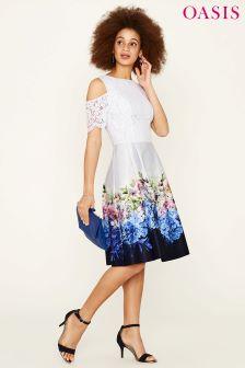 Oasis Grey Hydrangea Lace Top Cold Shoulder Skater Dress