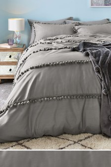 Oversize Pom Pom Trim Duvet Cover and Pillowcase Set