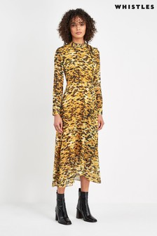 Whistles Yellow And Black Animal Dress