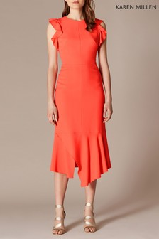 Karen Millen Orange Fit And Flare Ruffle Dress