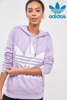 Sweat à capuche adidas Originals lilas à logo trèfle