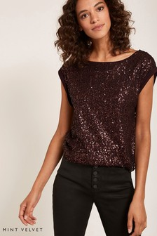 Mint Velvet Burgundy Sequin Tee