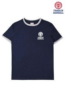 Franklin & Marshall Navy Retro Logo Ringer Tee