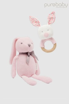 Purebaby Rabbit Toy And Teether Set