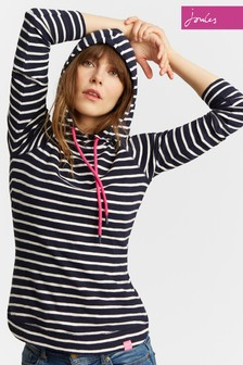 Joules Navy Stripe Marlston Hooded Sweat
