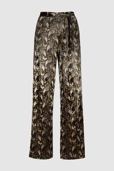 Velvet Print Wide Leg Trousers