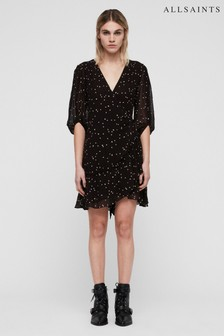 AllSaints Black Spot Gracie Wrap Dress