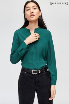 Warehouse Green Button Back Blouse
