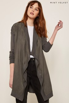 Mint Velvet Khaki Open Front Zip Cardigan