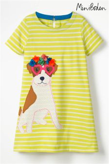Boden Yellow Holiday Appliqué Dress