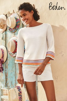 Boden White Colette Embroidered Jumper